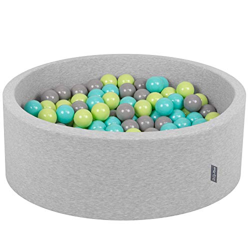 KiddyMoon 90X30cm/200 Balles ∅ 7Cm Piscine À Balles pour Bébé Rond Fabriqué en UE, Gris Clair: Vert Clair-Turquoise Clair-Gris