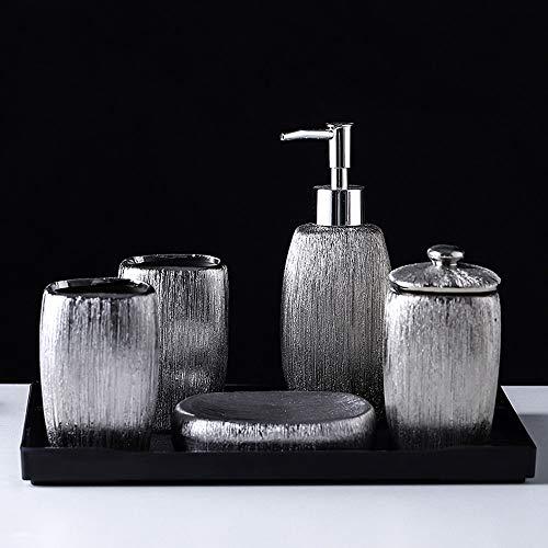 LPing Juego de Accesorios de Baño,Conjunto de 6 Piezas,Juego Cerámica De Baño Completo,Bathroom Accessory Set,Diseño Moderno y Elegante,Plata