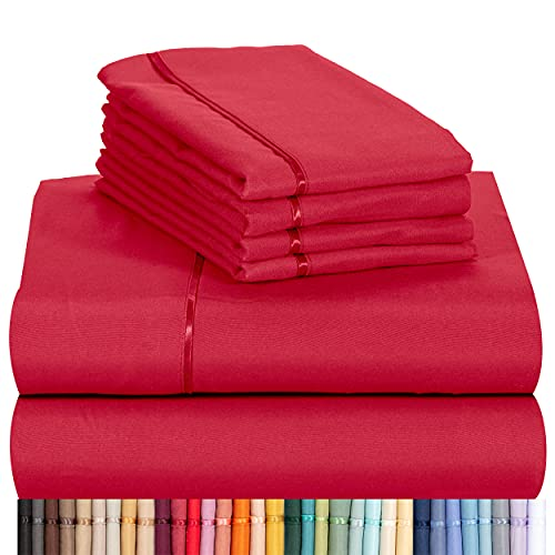 LuxClub 6 PC Sheet Set Bamboo Sheets Deep Pockets 18 Eco Friendly Wrinkle Free Sheets Machine Washable Hotel Bedding Silky Soft - Red King