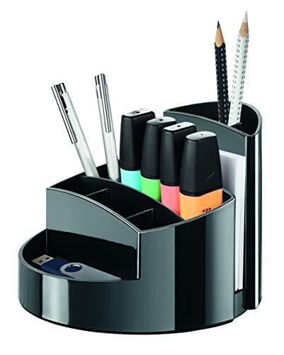HAN Schreibtischköcher RONDO – eleganter Köcher mit 9 Fächern, stabil, hochglänzend und in Premium-Qualität, schwarz, 17460-13