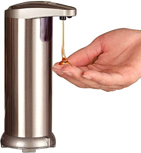 GENNISSY Distributore automatico di sapone senza contatto con base impermeabile in acciaio inox dispenser regolabile per cucina, bagno, hotel ufficio (Champagne)
