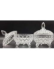 SL Bombonera de Cristal con Tapa para confitera y bombonera de Cristal Cubierto de Vidrio