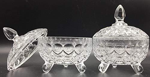 SL 1 Bombonera de Cristal con Tapa para confitera y bombonera de Cristal Cubierto de Vidrio (Blanco-1)