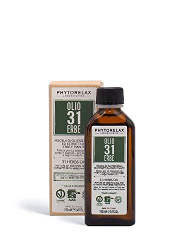 PhytorelaxLaboratories Olio 31 Erbe Vegan & Organic - Miscela Di Oli Essenziali Ed Estratti Da Erbe E Piante - 100 ml