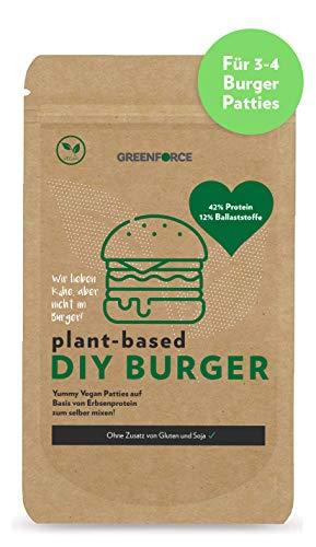 GREENFORCE Veganer Burger | Fertigmix für 3-4 rein pflanzliche DIY Burger-Patties auf Basis von Erbsenprotein | 42% Protein, 12% Ballaststoffe | nur Wasser & Öl zugeben | ohne Gluten & Soja | 150g