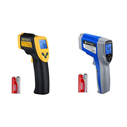 Etekcity Lasergrip 1080 Infrared Thermometer, Black & Yellow & 1022 Digital Laser Infrared Thermometer Temperature Gun Non-Contact -58℉~1022℉ (-50℃ ~ 550℃), Blue (Not for Human)