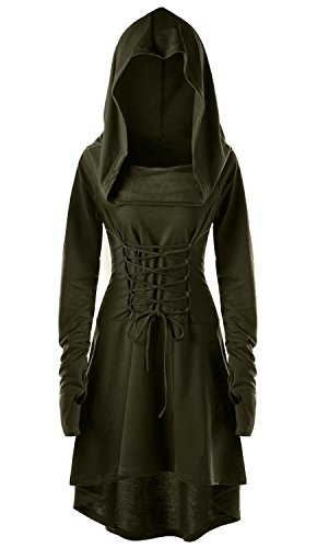 Womens Renaissance Costumes Hooded Robe Lace Up Vintage Pullover High Low Long Hoodie Dress Army Green