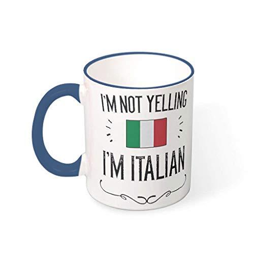 O5KFD&8 11 Oz Ich Schreie Nicht, ich Bin Italiener Becher Keramik Glossy Mug - Lustige Sprüche Klassenkamerad (Beidseitig Bedrucken) Midnight Blue 330ml