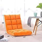 WEWE Silla de Piso de Felpa sofá Plegable Ajustable de 6 Posiciones Dormitorio de computadora Ventana panorámica Silla Japonesa sofá Perezoso para el hogar Naranja 40x35x40 cm (16x14x16 Pulgadas)