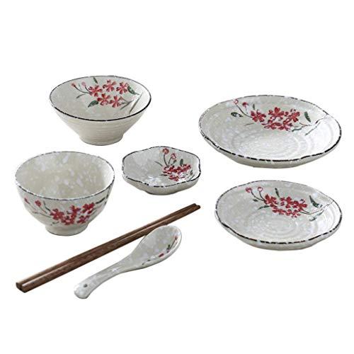 DJY-JY Juego de cubiertos de cerámica pintada a mano, diseño japonés para 1 persona, cuenco de sopa, plato de sopa y cuchara