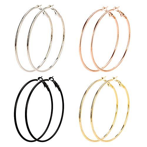 Bolonbi - 8 pares de pendientes con diseño de aro grande fabricados en acero inoxidable y chapados en oro, oro rosa, plata y negro, ideales para mujeres y niñas