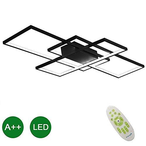 LED Modern Plafondlamp Zwart Beloven Dimmen Plafondlamp 95W Inbouw Minimalistische Decoratie Verlichtingsarmatuur Binnen Aluminium Acryl Voor Woonkamer Slaapkamer Studieverf 110CM