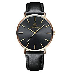 Minimalist Ultra Thin Big Face Dress Watches for Men Business Casual Simple Slim Quartz Analog Wrist Watch Waterproof Leather Classic Gift (C)