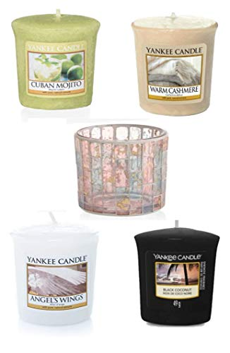silverstan Votive Sampler Summer Winter Mix Yankee Candle Votive 49 gram Value Bundle with 4 Votive Scented Candles PLUS Pastel Romance Mosaic Votive Holder