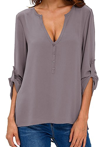 TownCat Women's Sexy V-Neck Chiffon Blouses & Button-Down Shirts Long Sleeve/Short Sleeve/Half Sleeve Adjustable (XL, Grey)