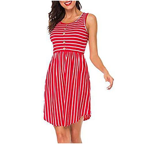 Vestito estivo da donna, abito estivo, corto, senza maniche, gonna senza maniche, scollo a O, casual, sexy, da donna, Colore: rosso, M