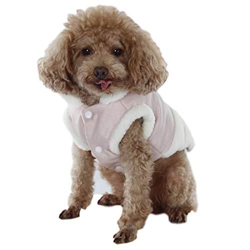 WFZ17 Hundeweste, Baumwolle, gepolstert, hoher Kragen, Stoff, Patch, für Herbst und Winter, Rosa, Größe M