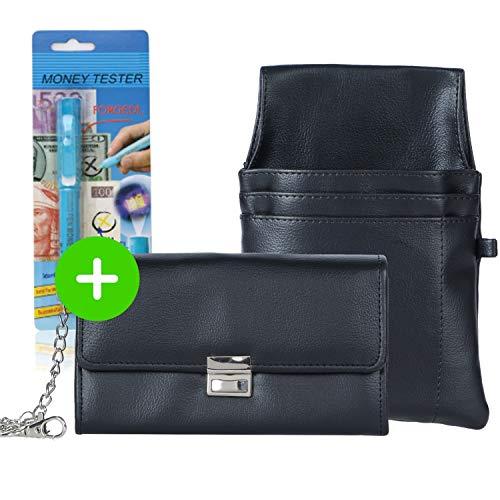 AKTION Kellnerportemonnaie solide Kellnerbörse robuste Kellnertasche mit Geldtester - Set mit Halfter + Kette - Geldbörse für Kellner Taxi Portemonnaie, Farbe: schwarz