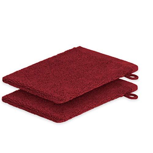 Lot de 2 gants de toilette ExKLUSIV HEIMTEXTIL 15 x 21 cm 500 g/m², bordeaux, 2x Waschhandschuh 15 x21 cm