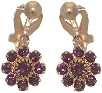 ROSINA Gold Plated lilac Crystal Clip On Earrings