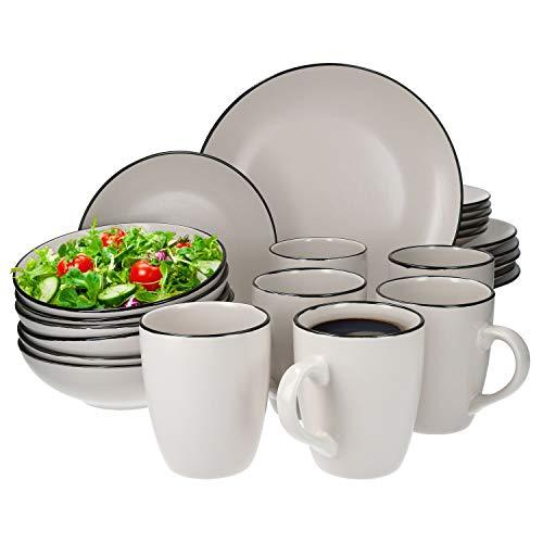 Van Well 24tlg. Geschirrset Campo Creme | 6 Personen | Kaffeebecher + Schüssel tief + Kuchenteller + Speiseteller flach | edles Porzellan | spülmaschinengeeignet