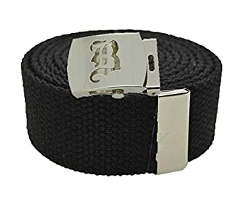 Old English Initial B  Canvas Military Web Black  Belt & Silver Buckle 60 Inch