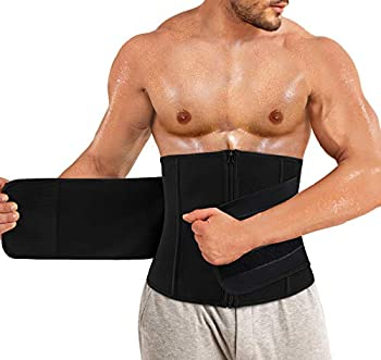 TAILONG Mens Waist Trimmer Belt Neoprene Waist Trainer for Weight Loss Slimming Body Shaper Workout Belly Band Sports Girdles  Black Medium