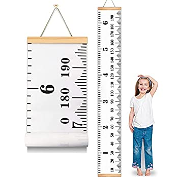 MIBOTE Baby Growth Chart Handing Ruler Wall Decor for Kids Canvas Removable Growth Height Chart 79  x 7.9