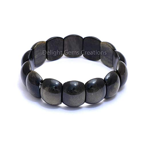 Shree Narayani Cojín la pulsera del estiramiento de Obsidiana Negro Natural 14x20mm...