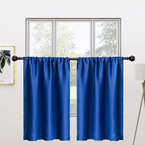 FLOWEROOM Tier Kitchen Curtains Set, 30 x 24 inch Long, Royal Blue, 2 Pieces – Rod Pocket Short Blackout Curtains for Small Windows, Room Darkening and Thermal Window Treatment Cafe Curtain Panels