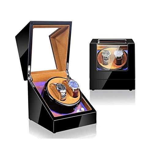 YLJYJ Cajón de almacenamiento para relojes y joyas, doble caja de reloj enrollable, luz LED azul, ajuste de 4 modos de rotación, madera de alto brillo, color marrón