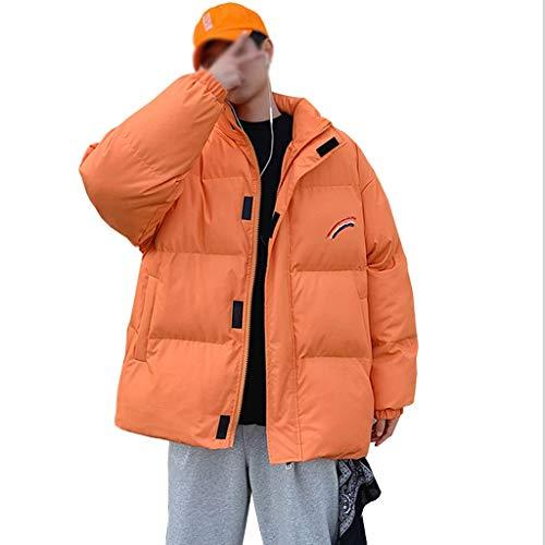 TWDYC Männer Rainbow Thick Bubble Coat Parka Herren Streetwear Hip Hop Winter Jacken Mäntel Male Warm Korean Puffer Jacken (Color : Orange, Size : X-Large)