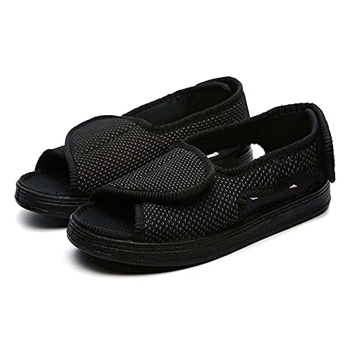 Anciano Velco Cómodo Sandalia, Zapatillas diabéticas para Hombres con Artritis de Espuma de Memoria Edema Gancho y Bucle Zapatos de Interior/Exteriores adicionales-Negro_44EU