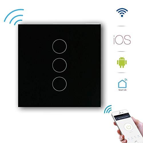 Smart Lichtschalter Schwarz Glas GoKlug Alexa Lichtschalter Google Home APP Fernbedienung Lichtschalter Alexa Wechselschalter, Smart Switch Wifi Lichtschalter Glas Touch Innen 1 Weg