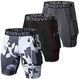ZENGVEE Men 3 Pack Running Shorts Compression Short Mens Underwear Spandex with Pocket Running,Workout,Training(1011-Black+Grey+Camo Grey-XL)