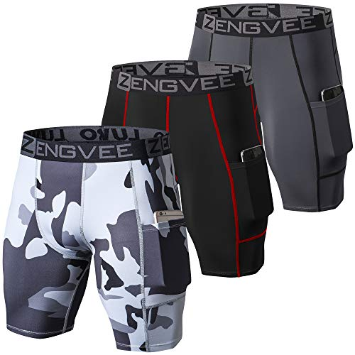ZENGVEE Men's 3 Pack Compression Shorts Cool Dry Running Base Layer Shorts with Phone Pockets for Running,Training, Workout, Gym(1011-Black Gray Camo Gray-M)