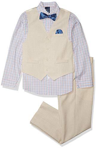 Nautica - Conjunto de 4 Piezas para niño con Camisa de Vestir, Pajarita, Chaleco y Pantalones, Plateado (Silver Birch), 4