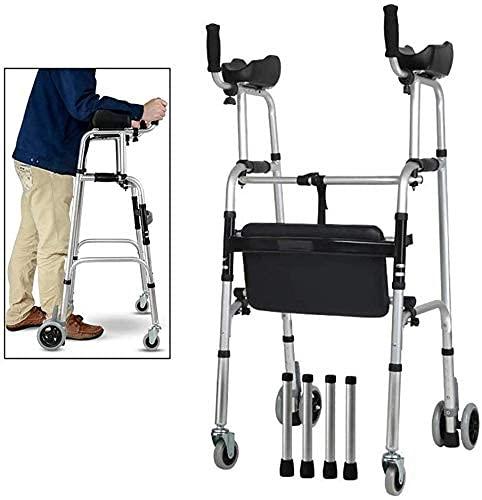 Andadores estándares y ligeros Andador plegable para personas mayores, postura vertical para caminar ajustable, andador rodante, ayuda para caminar para personas mayores, utilizado para personas