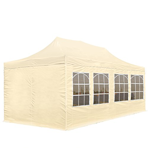 TOOLPORT 3x6m Pavillon Faltpavillon inkl. Seitenteile Stahl Faltzelt Garten Partyzelt beige