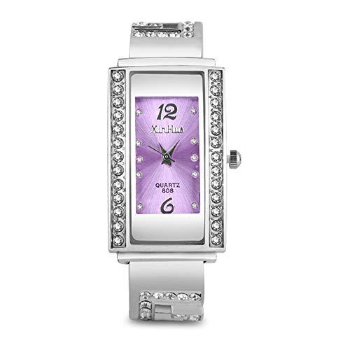 Reloj de Mujer Relojes de Mujer de Plata de Moda Reloj de Pulsera de Diamantes Relojes de Mujer Relojes de Mujer rectangulares Relojes de Pulsera Casuales