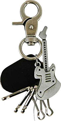 Schlüsselanhänger E-Gitarre mit 5 Schlüsselhaken - Taschenanhänger Gitarre, Musiker Geschenk, Rock M