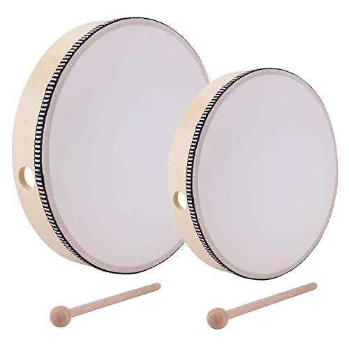 Lawei 2-teilig Handtrommel mit Schlägel Percussion Musikinstrument Pädagogisches für Party - 25,5 cm & 20,3 cm