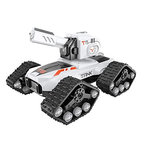 CYLYFFSFC Control Remoto Blister Spray Cool Light Tank Car 2.4G Recargable Crawler Car con Ruedas Escalada Todoterreno Chorro de Agua Spinning Drift Hill Climber Juguete para niños