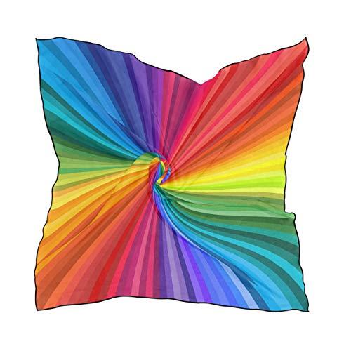BIGJOKE Regenbogen-Schal mit abstrakter Krawatte, quadratisch, 60 x 60 cm