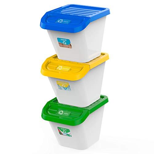 USE FAMILY Recycle. Cubos de Basura de Reciclaje Apilables 30 Litros para Cocina - 3 Pegatinas Reciclar Incluidas | Pack de 3 contendores |Exterior interior
