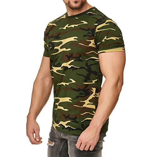 Happy Clothing Herren Camouflage T-Shirt Army Military Bundeswehr Tarnfarben Grün, Größe:3XL, Farbe:Camouflage