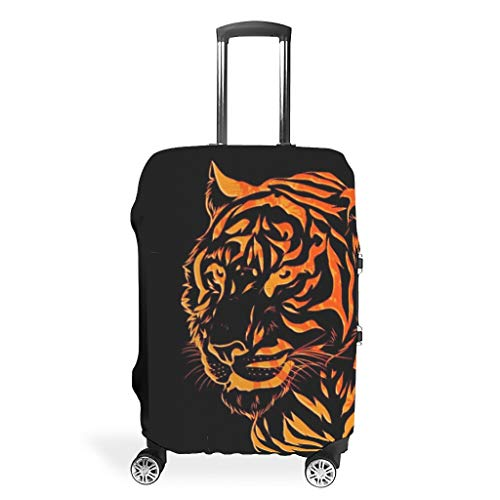 Tiger Lion Animal-Mirror Travel Luggage Cover Reusable Washable Fits 18-32 Inch for Wheeled Suitcase Over Softsided White 26-28in