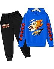 LIYIMING Naruto - Sudadera con capucha y pantalón de chándal | Pantalón y chaqueta para niño - Moda de 2 piezas - Algodón suave traje casual