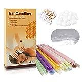 100% Velas para los Oídos Cera de Abeja Natural,Velas para Orejas orgánicos no tóxicos Fragancia Cono huecopara 16 Piezas (8 Colores) Cuidado de la Salud de los oídos bloqueados