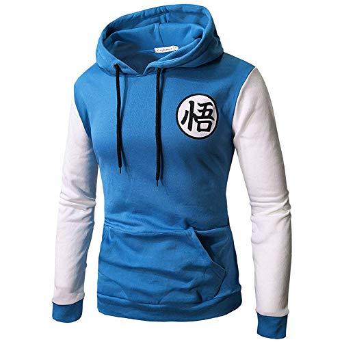 MUJOELE Sudadera con capucha para hombre de 6 colores, estilo informal, uniforme, camiseta deportiva; tallas: S, M, L, XL, XXL, 3XL Azul y blanco. XXL